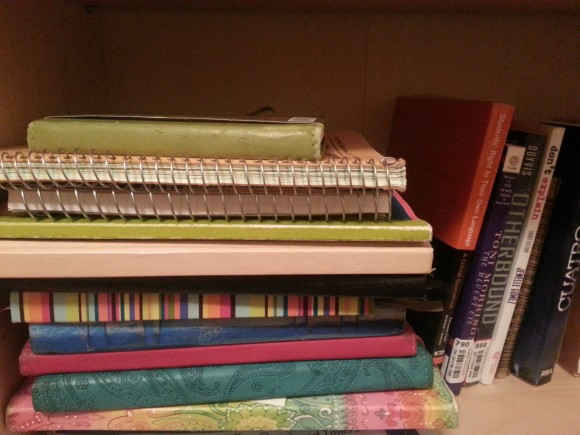 An assortment of my writing notebooks on a bookshelf, accompanied by several published texts: these texts include the Students' Right to their Own Language Critical Sourcebook; Toni Morrison's The Bluest Eye; Corrine Duyvis's Otherbound; Jewelle Gomez's Don't Explain; and Veronica Roth's Cuatro.